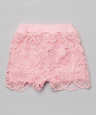 Pink Floral Lace Rhinestone Shorts - Infant, Toddler & Girls