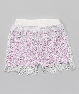 Lilac Floral Lace Rhinestone Shorts - Infant, Toddler & Girls