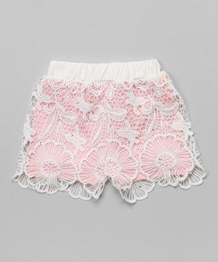 Rose Floral Lace Rhinestone Shorts - Infant, Toddler & Girls