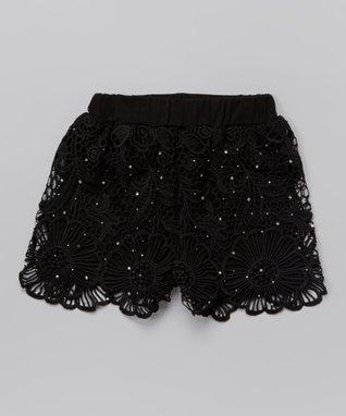 Black Floral Lace Rhinestone Shorts - Infant, Toddler & Girls