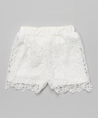 White Floral Lace Rhinestone Shorts - Infant, Toddler & Girls