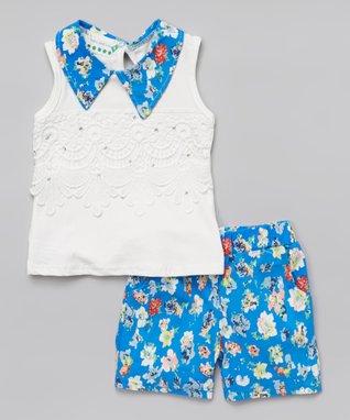 Blue Pearl Collar Tank & Floral Shorts - Infant, Toddler & Girls