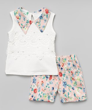 Peach Pearl Collar Tank & Floral Shorts - Infant, Toddler & Girls