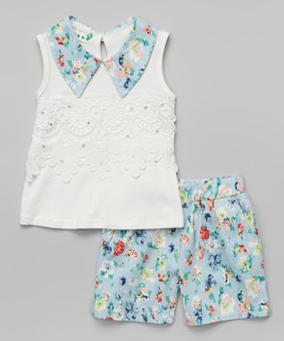 Teal Pearl Collar Tank & Floral Shorts - Infant, Toddler & Girls