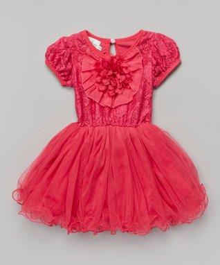 Fuchsia Rosette Pearl Ruffle Yoke Dress - Toddler & Girls