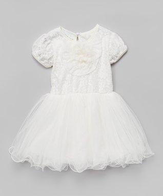 Purple Rosette Pearl A-Line Dress - Toddler & Girls