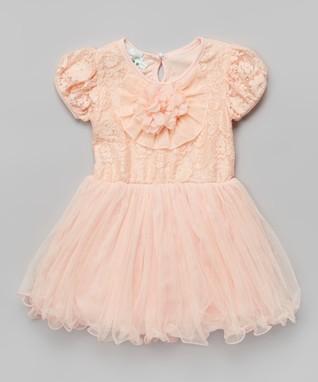 Red & Black Rosette Pearl Angel-Sleeve Dress - Toddler & Girls
