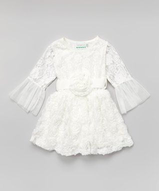 Peach Rosette Ruffle Angel-Sleeve Dress - Toddler & Girls