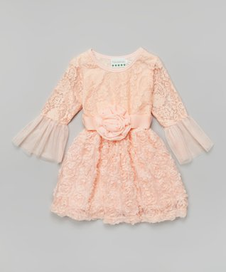 Peach Lace Bell-Sleeve Dress - Infant, Toddler & Girls