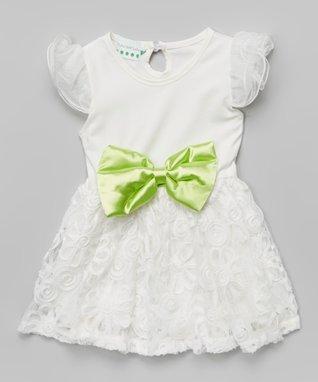 White Rosette Ruffle Angel-Sleeve Dress - Toddler & Girls