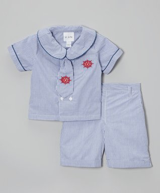 Blue Stripe Nautical Top Set - Infant & Toddler