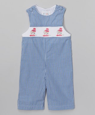 Blue Gingham Patriotic Owl Overalls - Infant & Toddler