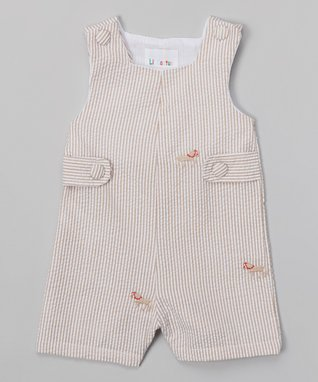 Tan Stripe Horse Shortalls - Infant & Toddler
