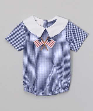 Blue Gingham Flag Bubble Bodysuit - Infant & Toddler