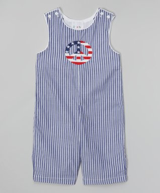 Navy Stripe Peace Sign Shortalls - Infant & Toddler