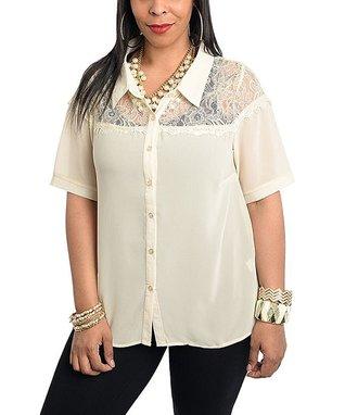 Teal & Ivory Floral Blouson Button-Up Top - Plus