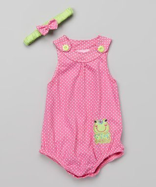 Duck Duck Goose Fuchsia Frog Bodysuit & Headband - Infant