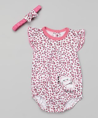 Duck Duck Goose White & Pink Kitty Bodysuit & Headband - Infant
