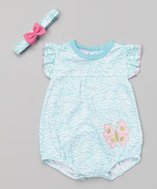 Duck Duck Goose Blue Butterfly Bodysuit & Headband - Infant