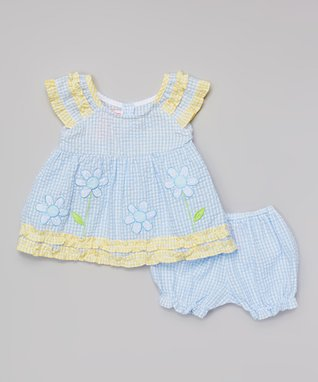 Teddy Boom Light Blue & Yellow Seersucker Ruffle Dress & Bloomers - Infant