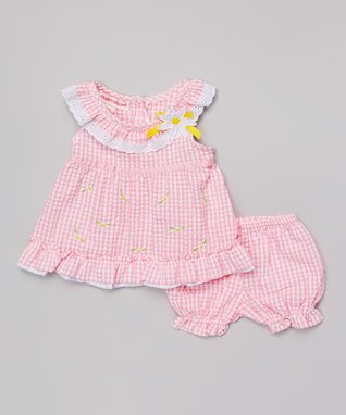 Teddy Boom Light Pink Seersucker Ruffle Dress & Bloomers - Infant