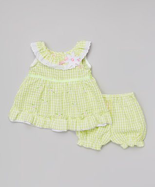 Teddy Boom Mint Seersucker Ruffle Dress & Bloomers - Infant