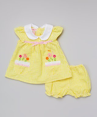 Teddy Boom Light Yellow Seersucker Floral Dress & Bloomers - Infant