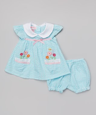 Teddy Boom Light Aqua Seersucker Floral Dress & Bloomers - Infant