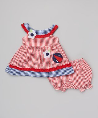 Teddy Boom Red & Blue Seersucker Smocked Yoke Dress & Bloomers - Infant