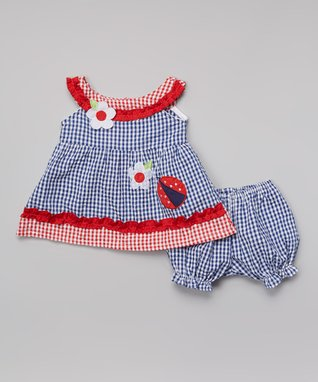 Teddy Boom Blue & Red Seersucker Smocked Yoke Dress & Bloomers - Infant