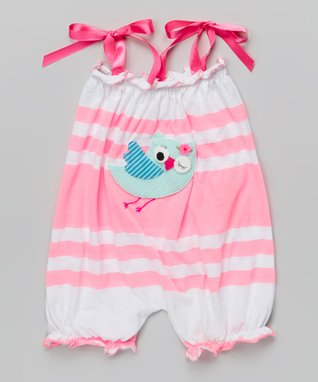 Pink Stripe Bird Bubble Romper - Infant & Toddler