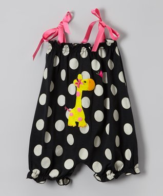 Black & Pink Polka Dot Giraffe Bubble Romper - Infant & Toddler