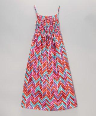 Apollo Fuchsia Herringbone Shirred Maxi Dress - Girls