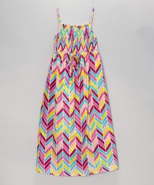 Apollo Pink & Yellow Herringbone Shirred Maxi Dress - Girls