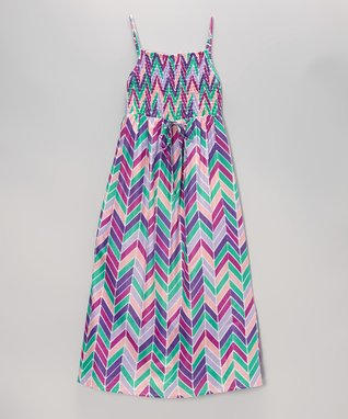Apollo Lavender Herringbone Shirred Maxi Dress - Girls