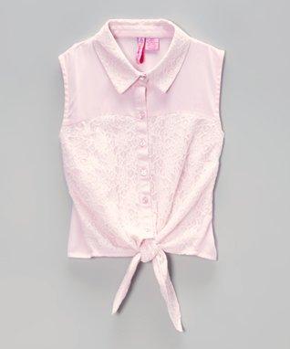 Apollo Fuchsia Stripe Button-Up - Girls