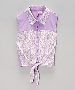 Apollo Purple Lace Tie-Front Top - Girls
