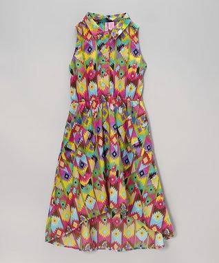 Apollo Lime & White Alphabet Dress - Girls