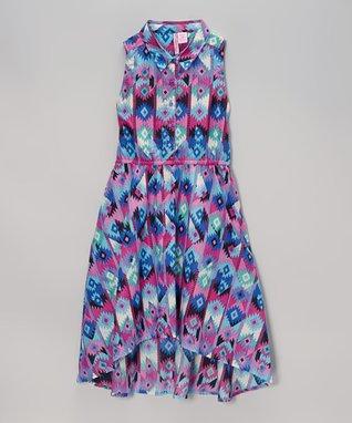 Apollo Pink & Blue Geometric Hi-Low Dress - Girls