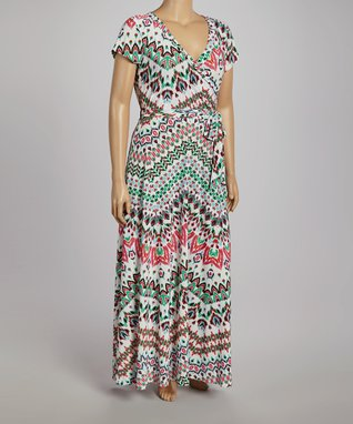 Green & Red Tribal Belted Maxi Dress - Plus