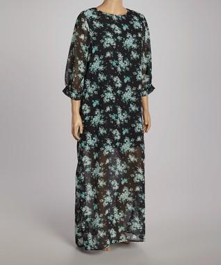 Black & Yellow Floral Maxi Dress - Plus