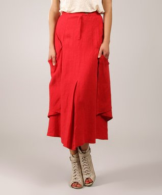 Red Drape Linen Midi Skirt