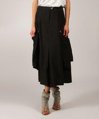 Black Drape Linen Midi Skirt