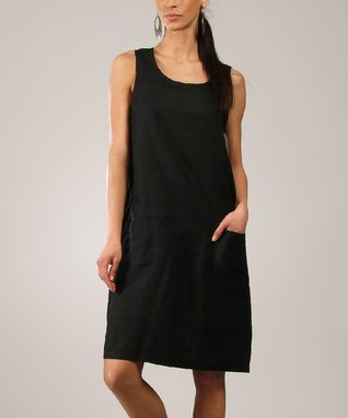 Black Linen Scoop Neck Sleeveless Dress