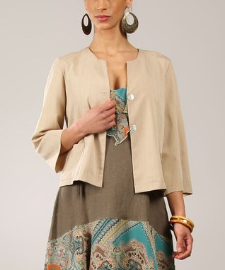 Beige Pocket Linen Button-Up Cropped Jacket