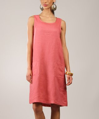 Pink Linen Scoop Neck Sleeveless Dress