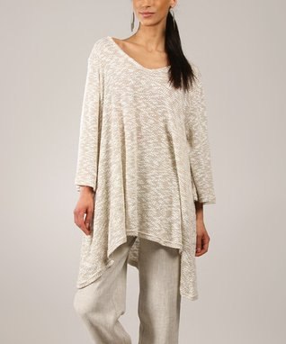 Beige Sidetail V-Neck Swing Tunic