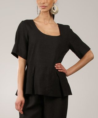 Black Scoop Neck Linen Peplum Top