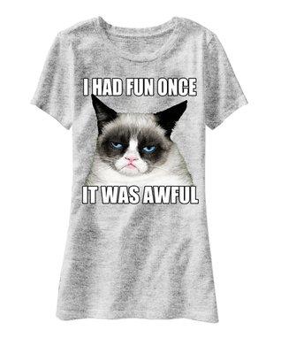 Gray Grumpy Cat 'I Had Fun Once' Tee - Men