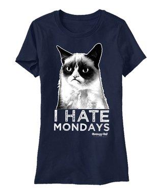 Blue Grumpy Cat 'I Hate Mondays' Tee - Men